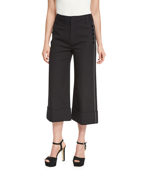Wide-Cuff Cotton-Blend Culottes, Black