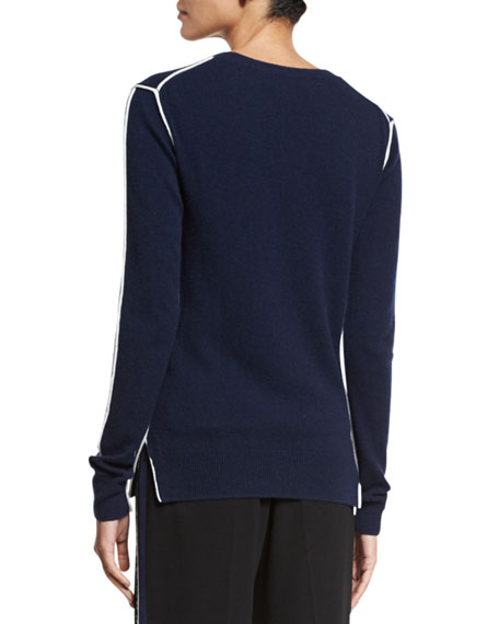 Long-Sleeve Crewneck Cashmere Sweater, Midnight