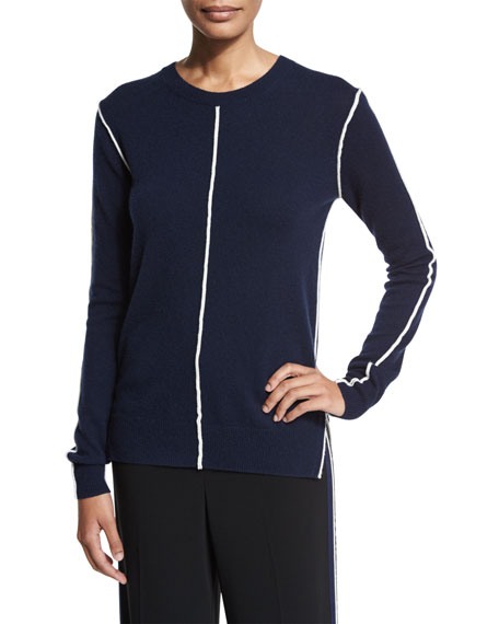 Derek Lam 10 Crosby Long-Sleeve Crewneck Cashmere Sweater,
