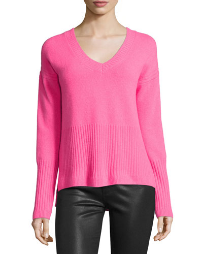 Ribbed-Trim Cashmere V-Neck Sweater, Shocking Pink