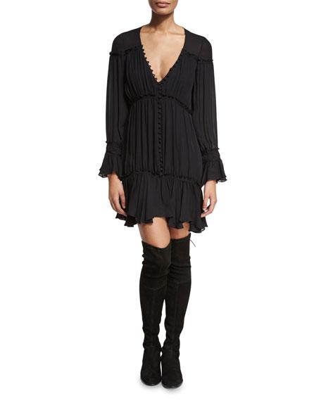 Ashburn Tiered Silk Peasant Dress, Black