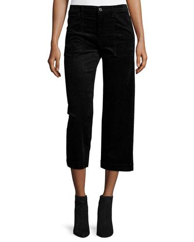 Wide-Leg Velvet Culottes, Black