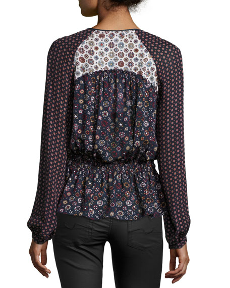 Long-Sleeve Floral Silk Blouse, Midnight/Multicolor