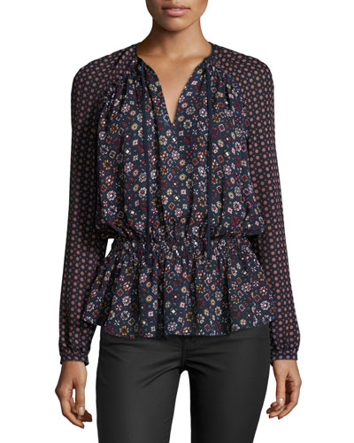 Long-Sleeve Floral Silk Blouse, Midnight/Multicolor