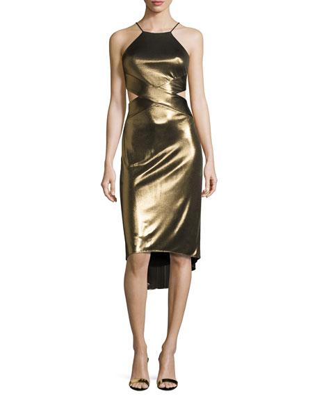 Sleeveless Cutout Metallic Jersey Midi Dress, Bronze