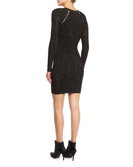Metallic Jacquard Sheath Dress, Black/Gold