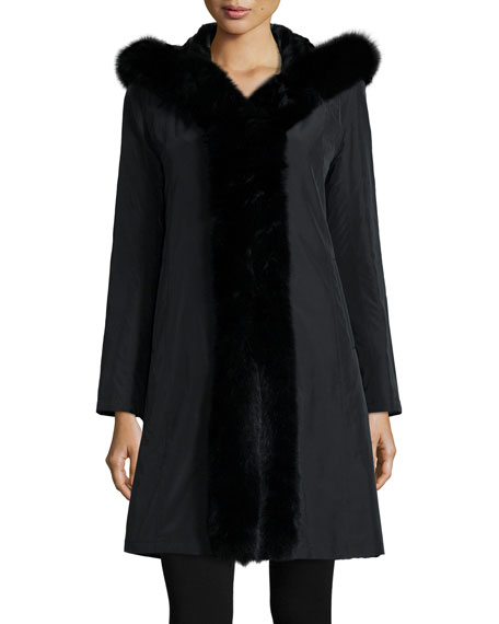 Hooded Reversible Fur-Trim Coat, Black