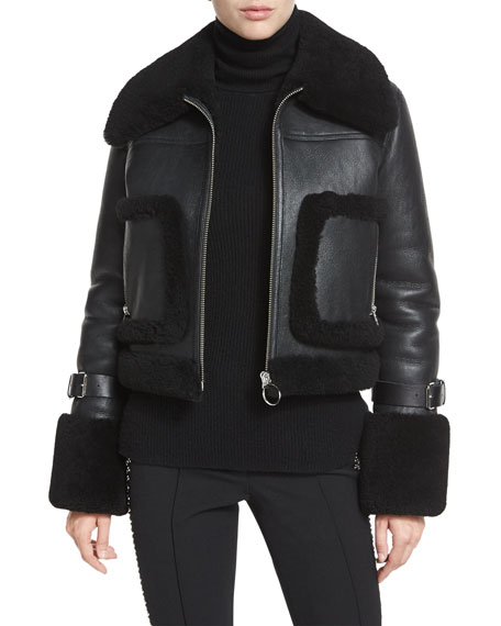 Archer Lamb Leather/Fur Jacket, Black