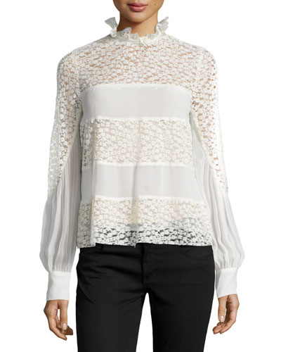 Long-Sleeve Mixed-Media Top, Ivory