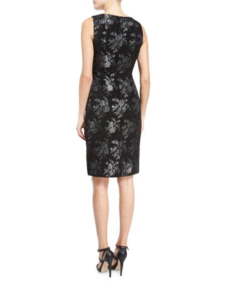 Sleeveless Floral Metallic Sheath Dress, Black