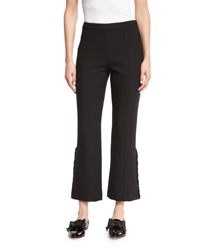Onyx Ruffle-Trim Flared Cropped Pants, Black