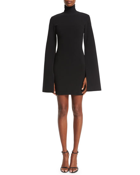 Franklin Bell-Sleeve Turtleneck Mini Dress, Black