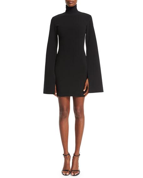 Franklin Bell-Sleeve Turtleneck Mini Dress, Black