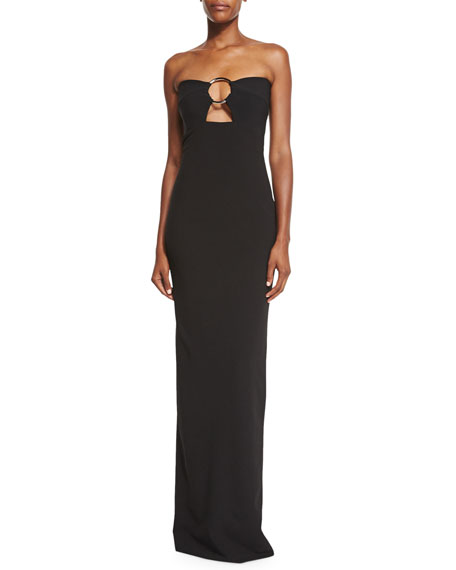 Keira Strapless O-Ring Gown, Black