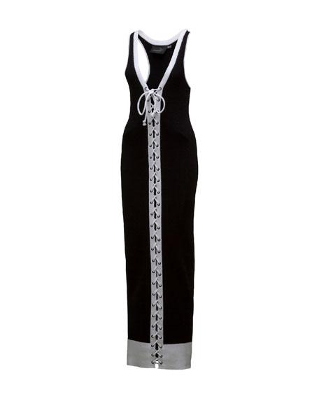 Ribbed Lace-Up Maxi Dress, Black