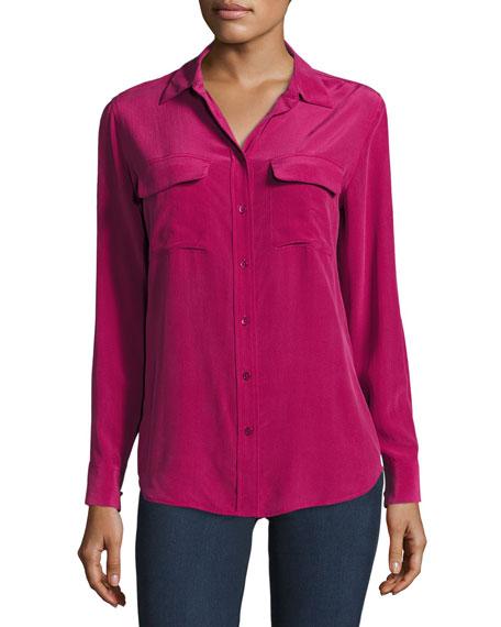 Equipment Slim Signature Long-Sleeve Shirt, Damson