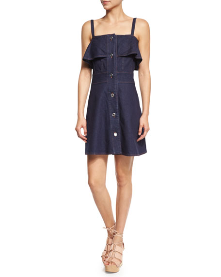 Sleeveless Stretch Denim Mini Dress, Indigo