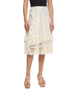 Mixed-Stitched Tassel Skirt, Off White