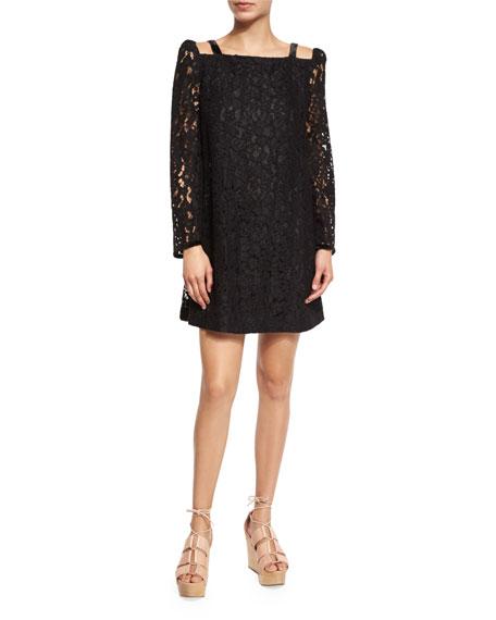 See By Chloe Long Sleeve Lace Mini Dress Black