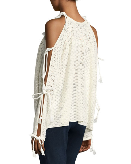 Tied Cotton Crochet Pullover Sweater, Cloud Dancer