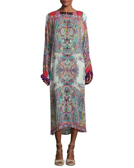 Etro Printed Midi Dress w/Tassel Trim, Red Multi