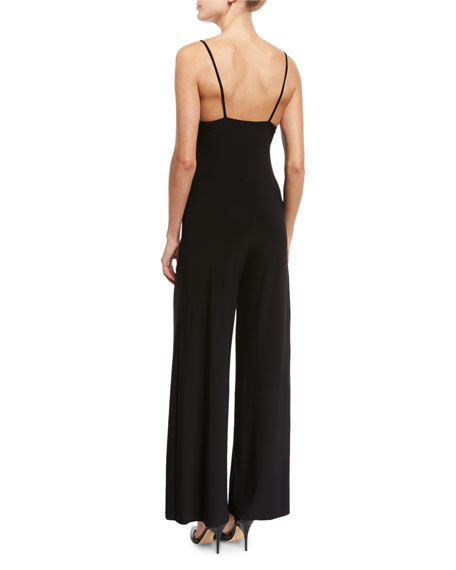 Wide-Leg Slip Jumpsuit, Black
