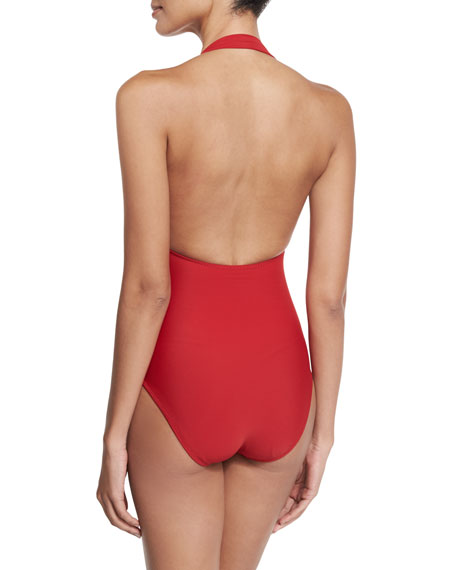 Halter Sweetheart Mio One-Piece Swimsuit, Red