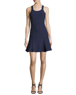 Edie Sleeveless Fit-and-Flare Ponte Mini Dress, Royal