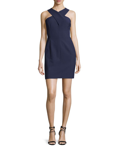 Elliot Sleeveless Cutout Stretch Crepe Mini Dress, Royal/Black