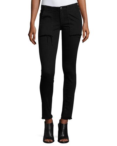 Denny Frayed-Hem Jeans, Black Coal
