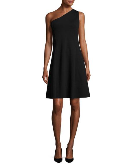 Leainna Fixture Ponte One-Shoulder Dress, Black