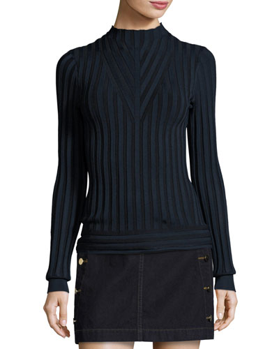 Page Ribbed Mock-Neck Sweater