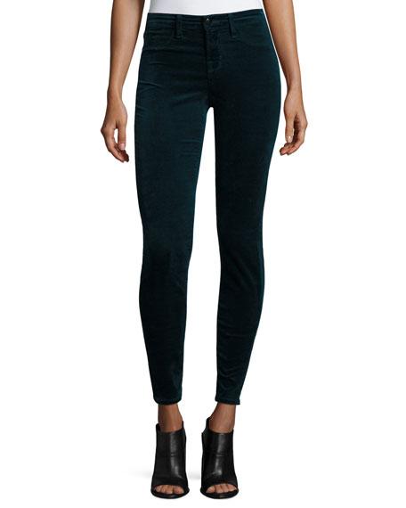 Mid-Rise Super Skinny Velvet Pants, Green