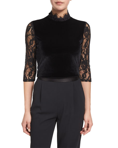 Jenny Velvet & Lace Mock-Neck Top, Black