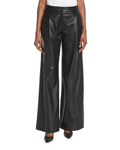 Stanton Leather Wide-Leg Pants, Black