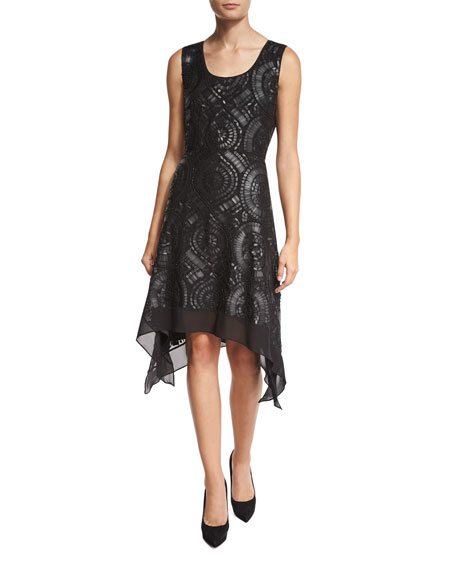 Nikkole Laser-Cut Leather Handkerchief-Hem Dress, Black