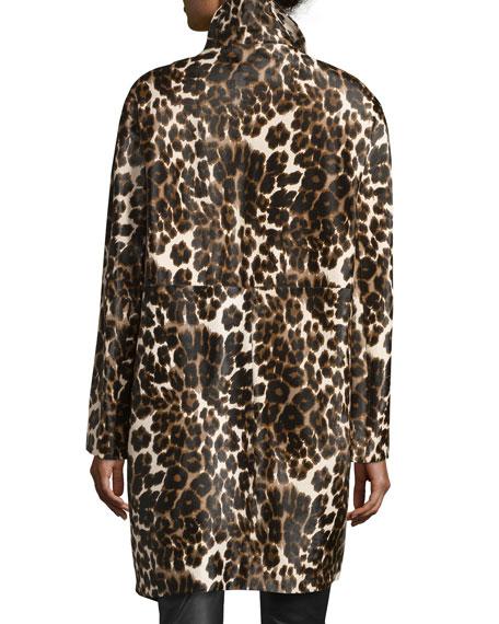 Finola Two Calf Hair Coat, Snow Cheetah Simple