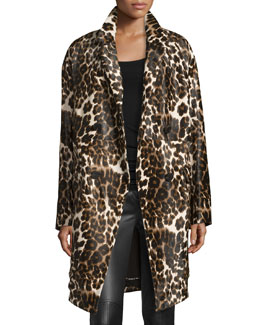 Finola Two Calf Hair Coat, Snow Cheetah Simple