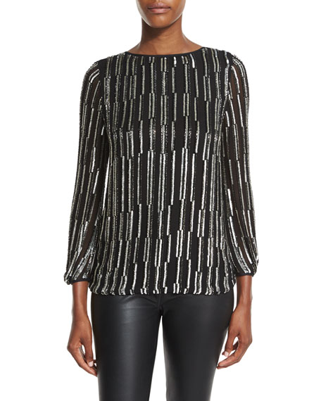 Diane von Furstenberg Evvy Sequined Tie-Back Silk Blouse,