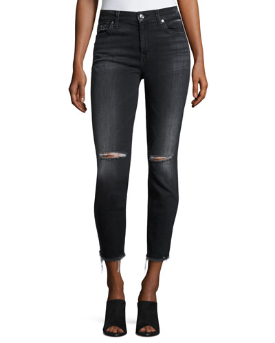 High-Waist Ankle Distressed Skinny Jeans, Black