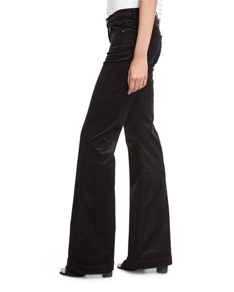 Ginger Flare-Leg Corduroy Pants, Black
