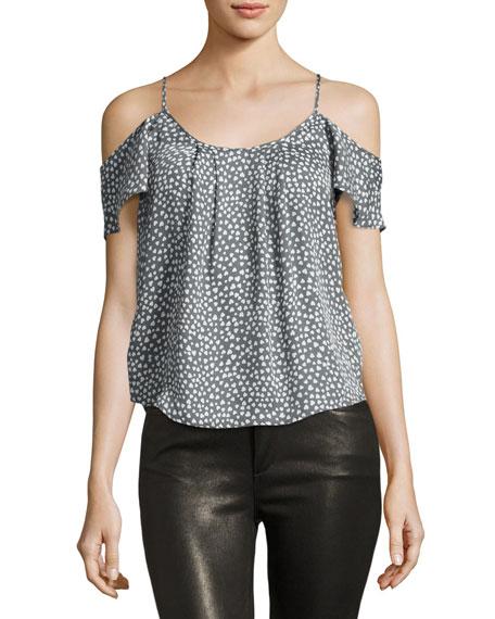 21a3c458d95fa Joie Adorlee Cold-Shoulder Heart-Print Silk Blouse