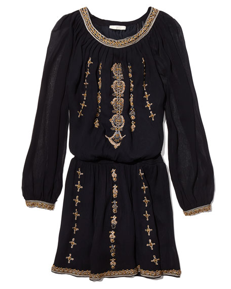 Berline Embroidered Blouson Dress, Caviar/Antique Bronze