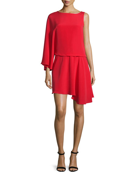 Asymmetric Flowy Faille Blouson Dress, Scarlet