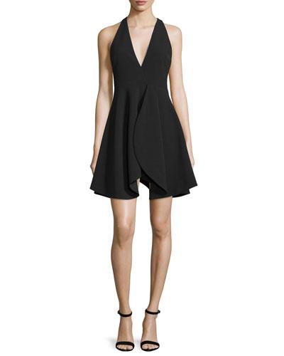 Sleeveless Flounce-Skirt Party Dress, Black