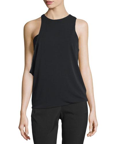 Sleeveless Jewel-Neck Asymmetric Draped Top, Black