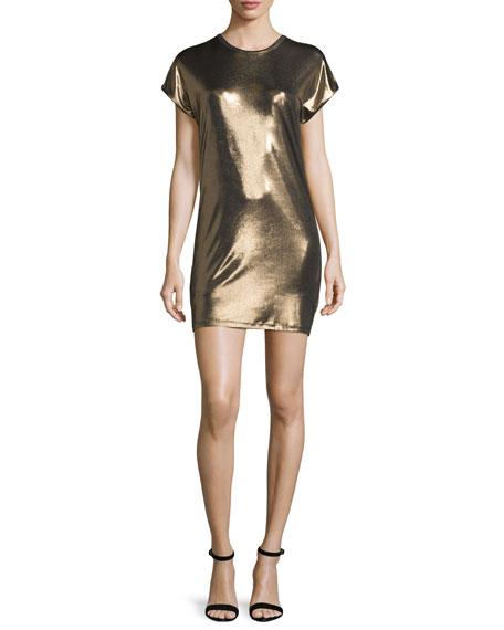 Short-Sleeve Foil Jersey Mini Dress, Bronze