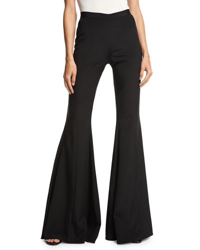 Stretch Silk Bell-Bottom Pants, Black