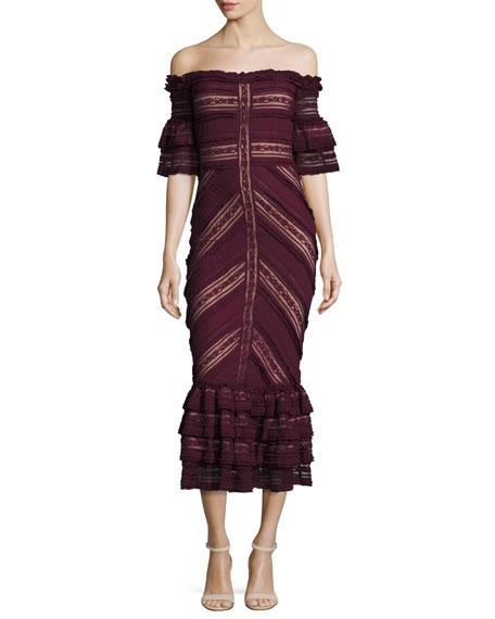 Naya Lace Off-the-Shoulder Dress, Mulberry