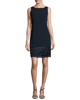 Sleeveless Embellished Crepe Cocktail Dress, Midnight